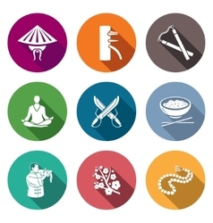 Martial arts wing chun icons set vector