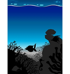 Silhouette scene underwater with blue wave vector