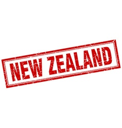New zealand red square grunge stamp on white vector