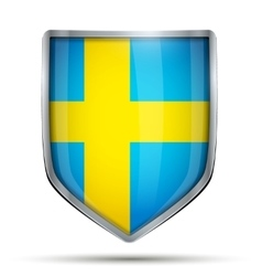 Shield with flag sweden vector