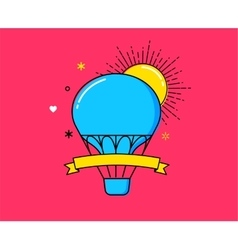 Outline modern colorful banner hot air balloon vector