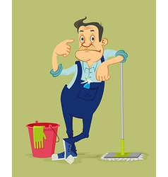 Cleaner with mop vector