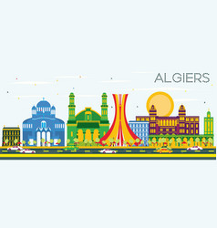Algiers skyline with color buildings and blue sky vector