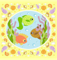 Background sea card with fish vector