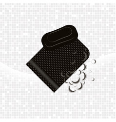 black glove kese with soap and foam vector image vector image