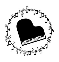 Border musical notes with piano vector