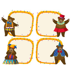 border template with brown bear in circus vector image