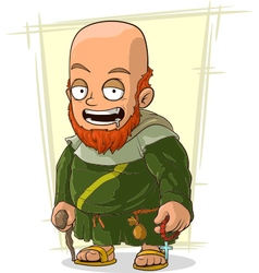 Cartoon bearded monk in robe vector