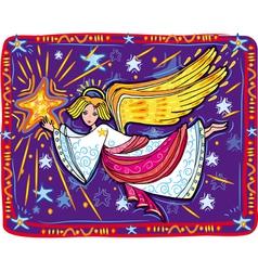 Christmas angel and star vector
