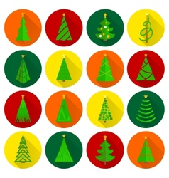 Christmas tree flat round buttons vector