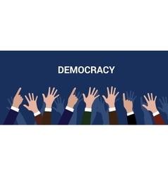 Democracy democration concept crowd people raise vector