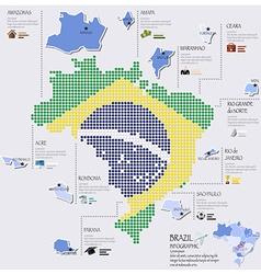 Dot And Flag Map Of Brazil Infographic Design vector image vector image