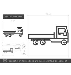 flat bed truck line icon vector image vector image