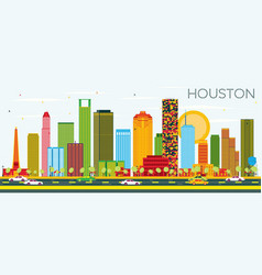 Houston skyline with color buildings and blue sky vector