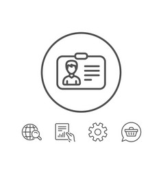 id card line icon user profile sign vector image vector image