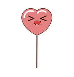 Kawaii heart pink balloon party decoration for vector