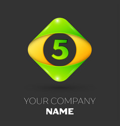 number five logo symbol in colorful rhombus vector image vector image