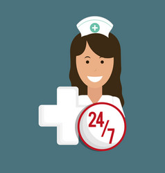 Nurse medical service cross 24-7 vector