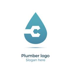 plumbing company logo vector image vector image