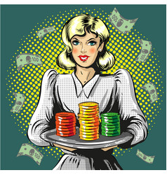 pop art of woman with gambling vector image vector image