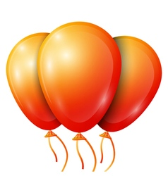 Realistic orange balloons with ribbon isolated on vector