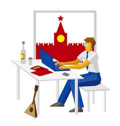 Russian hacker with kremlin vodka and balalaika vector
