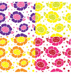 seamless pattern with cute doodle flowers vector image