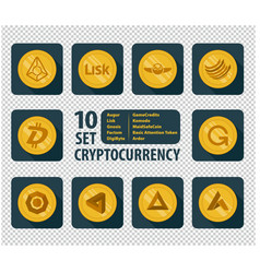 set of ten different cryptocurrency vector image