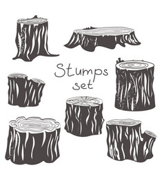stump black and white silhouettes set vector image