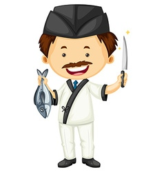 Sushi chef with fish and knife vector