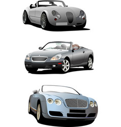 Three cabriolets on the road vector