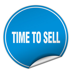 Time to sell round blue sticker isolated on white vector