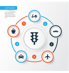 Transportation icons set collection of cab vector
