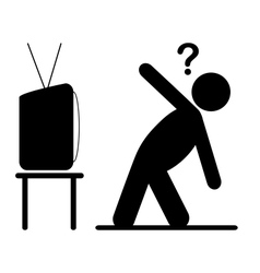 TV yoga tutorial lesson man pictogram flat icon vector image