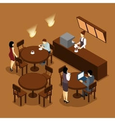 Waitress Barista People Isometric Brown Poster vector image vector image