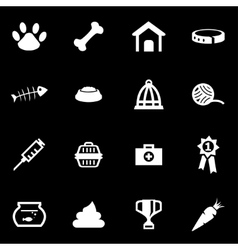 white pet icon set vector image vector image
