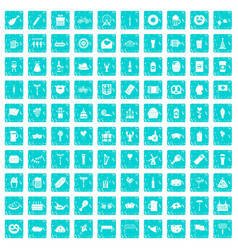 100 beer party icons set grunge blue vector