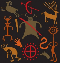 Cave man warrior paintings vector