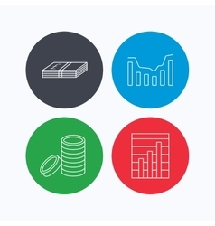 Cash money and dynamics chart icons vector