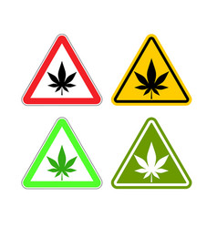 Warning sign attention drugs dangers of marijuana vector