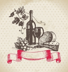 Wine vintage background Hand drawn vector image