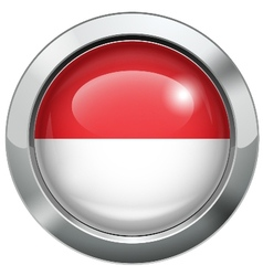 Indonesia and monaco flag metal button vector