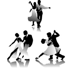 Three couples dancing a tango vector
