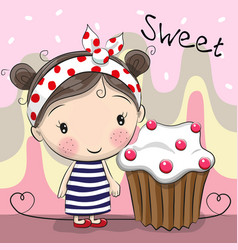 Greeting card cute girl with cake vector