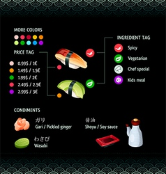 Sushi infographics vector