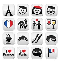 France I love Paris icons set vector image