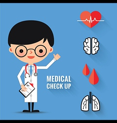 Medical check up with man doctor characters vector