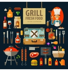 Grill barbecue icons set set of elements - chef vector