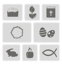 Monochrome icons with easter symbols vector
