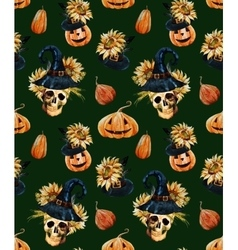 Watercolor halloween pattern vector